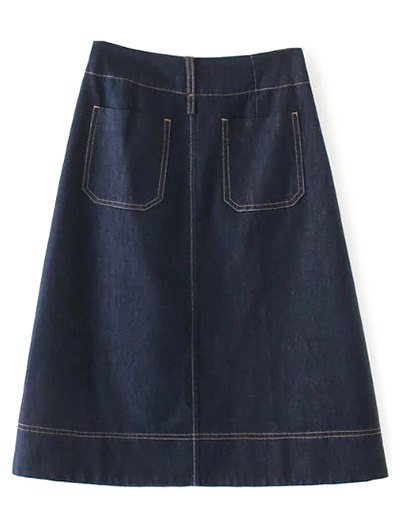 Zippered A Line Jean Skirt - DEEP BLUE L Mobile
