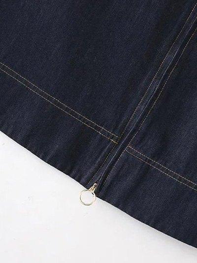 Zippered A Line Jean Skirt - DEEP BLUE M Mobile