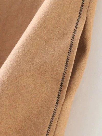 Wool Blend A Line Skirt - BLACK L Mobile