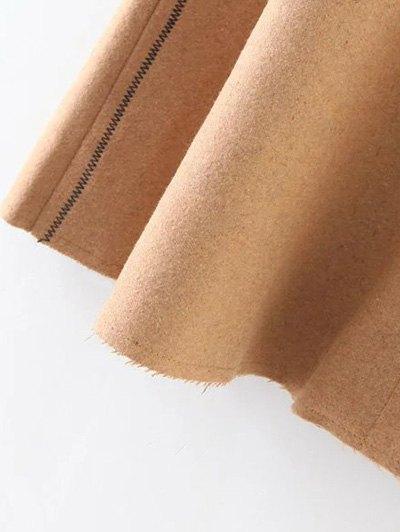 Wool Blend A Line Skirt - CAMEL L Mobile