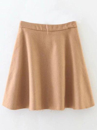 Wool Blend A Line Skirt - CAMEL S Mobile