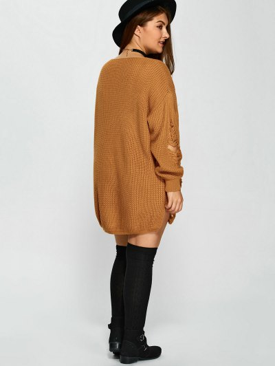 Plus Size Distressed Longline Pullover Sweater - EARTHY 5XL Mobile