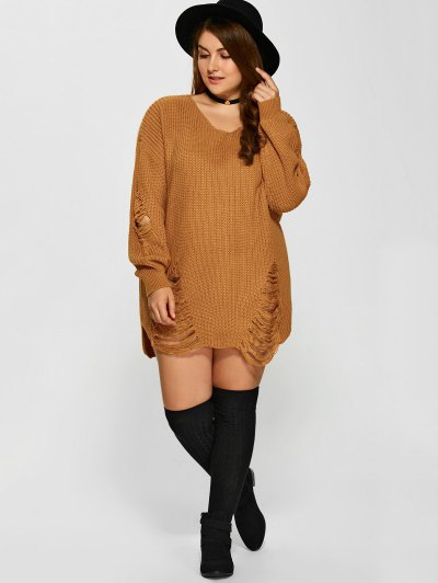 Plus Size Distressed Longline Pullover Sweater - EARTHY 4XL Mobile