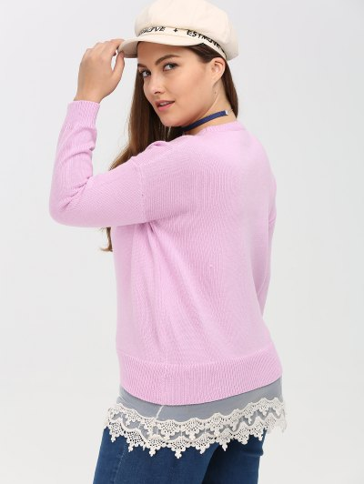 Lace Insert Crew Neck Plus Size Sweater - PINK 5XL Mobile
