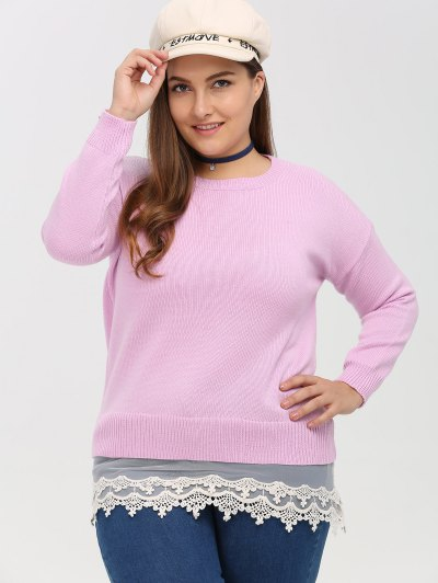 Lace Insert Crew Neck Plus Size Sweater - PINK 4XL Mobile