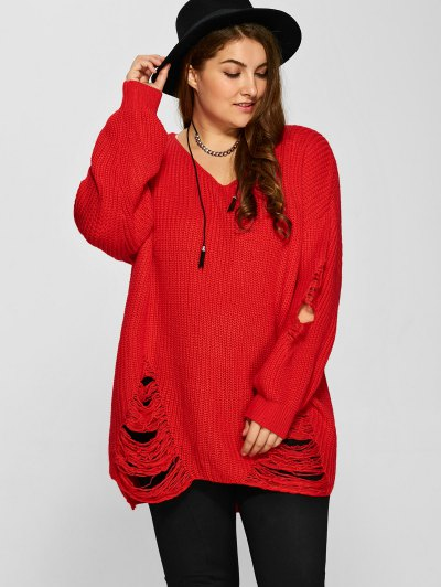 Plus Size Distressed Longline Pullover Sweater - RED 3XL Mobile
