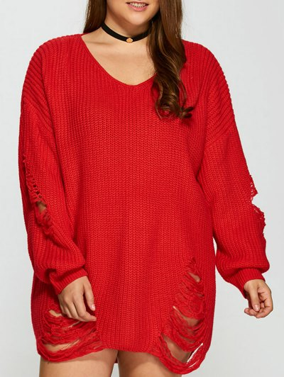 Plus Size Distressed Longline Pullover Sweater - RED 2XL Mobile