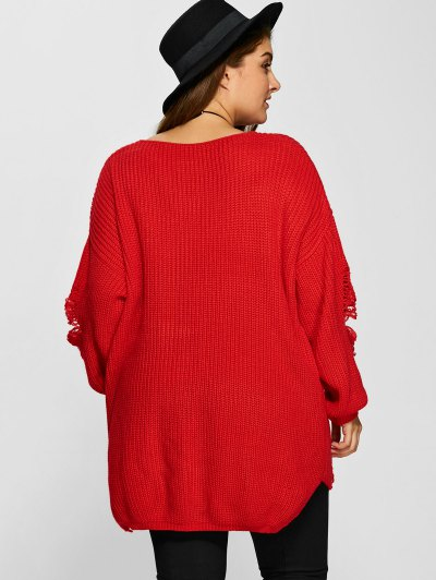 Plus Size Distressed Longline Pullover Sweater - RED XL Mobile