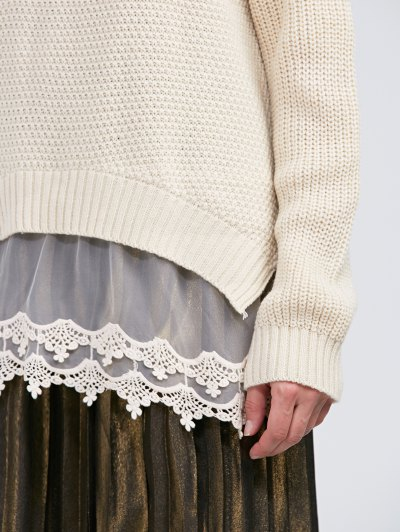 Raglan Sleeve Lace Panel Pullover Sweater - OFF-WHITE L Mobile