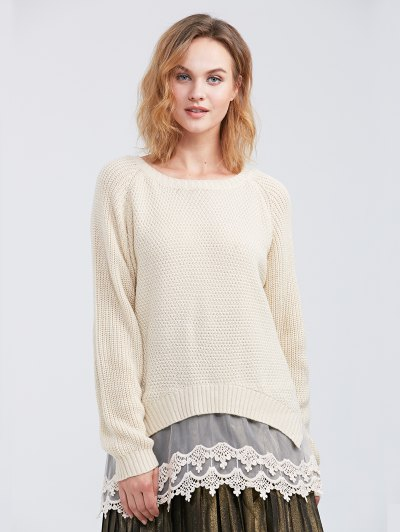 Raglan Sleeve Lace Panel Pullover Sweater - OFF-WHITE S Mobile