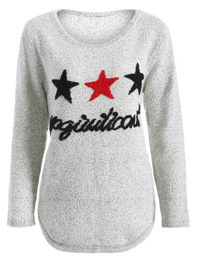 Star Letter Pattern Sweater - GRAY ONE SIZE Mobile