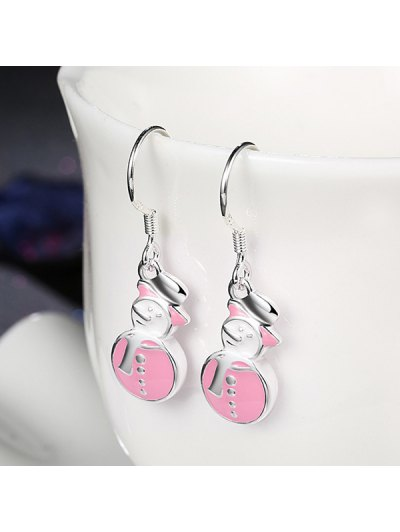 Enamel Snowman Christmas Drop Earrings - PINK  Mobile