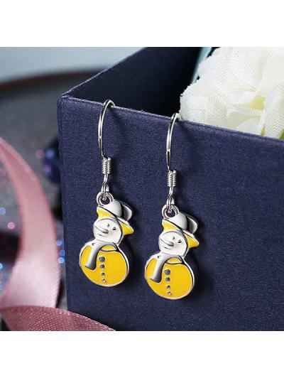 Enamel Snowman Christmas Drop Earrings - YELLOW  Mobile