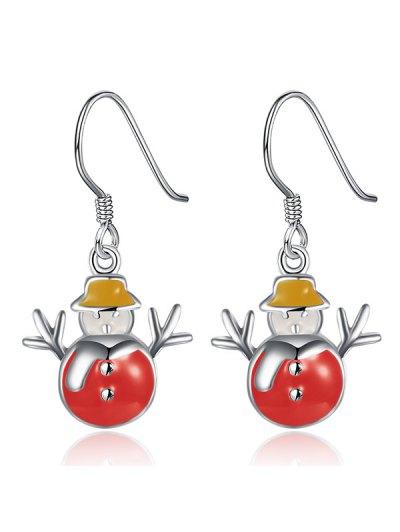Enamel Snowman Christmas Earrings - RED  Mobile