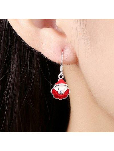 Enamel Christmas Santa Drop Earrings - RED  Mobile