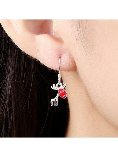 Christmas Deer Enamel Drop Earrings - RED  Mobile