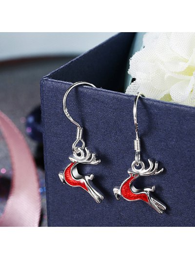 Christmas Elk Enamel Drop Earrings - RED  Mobile