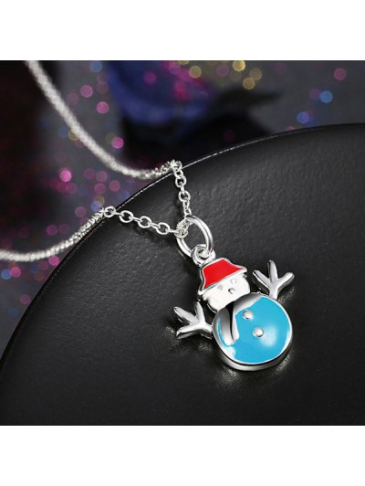 Enamel Snowman Christmas Jewelry Set - BLUE  Mobile