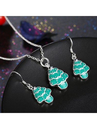 Polished Christmas Tree Jewelry Set - GREEN  Mobile