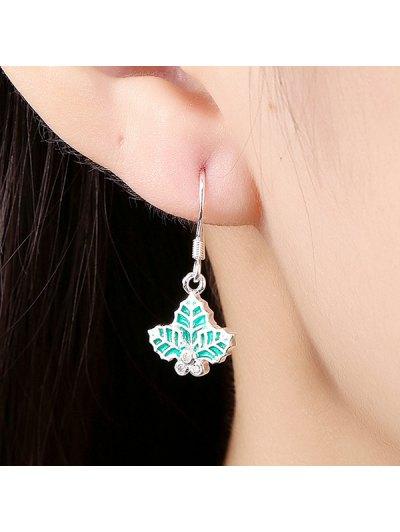 Christmas Leaf Enamel Jewelry Set - GREEN  Mobile