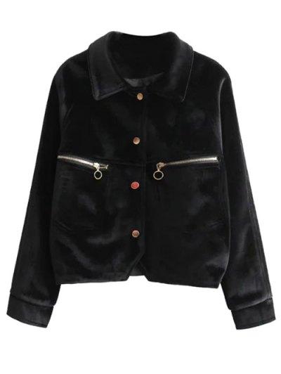Graphic Embroidered Zipper Pocket Velvet Jacket - BLACK M Mobile