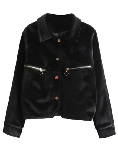 Graphic Embroidered Zipper Pocket Velvet Jacket - BLACK S Mobile