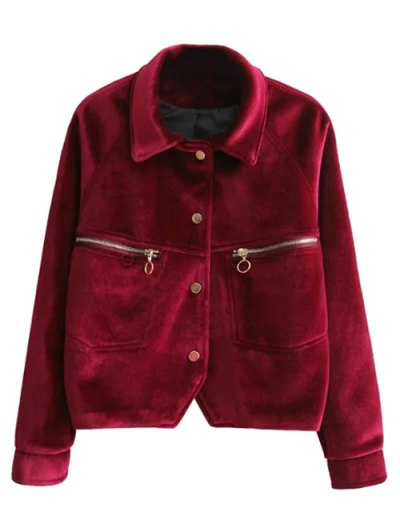 Graphic Embroidered Zipper Pocket Velvet Jacket - RED S Mobile