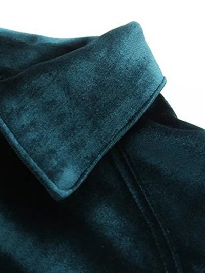 Graphic Embroidered Zipper Pocket Velvet Jacket - ROYAL S Mobile