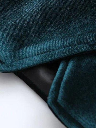 Graphic Embroidered Zipper Pocket Velvet Jacket - BLACKISH GREEN S Mobile