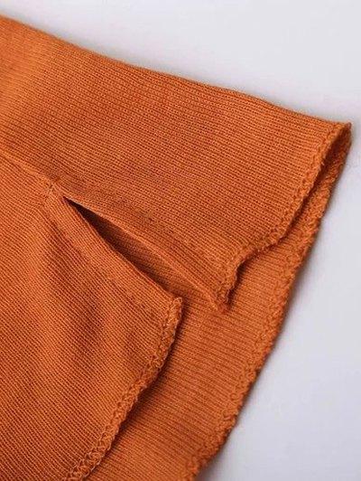 High Neck Long Sleeve Basic Tee - DEEP ORANGE M Mobile