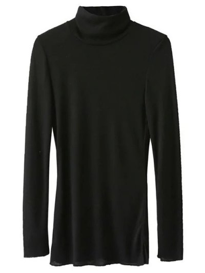 High Neck Long Sleeve Basic Tee - BLACK M Mobile
