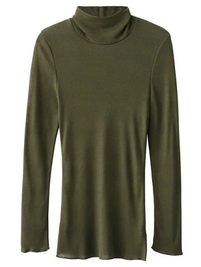 High Neck Long Sleeve Basic Tee - ARMY GREEN L Mobile