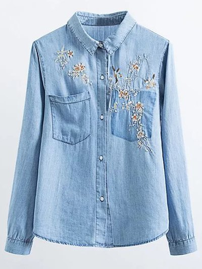 Floral Bird Embroidered Denim Shirt - LIGHT BLUE M Mobile