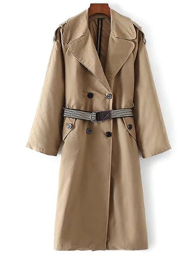 Wide Lapel Double Breasted Trench Coat - KHAKI M Mobile