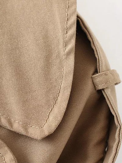 Wide Lapel Double Breasted Trench Coat - KHAKI S Mobile