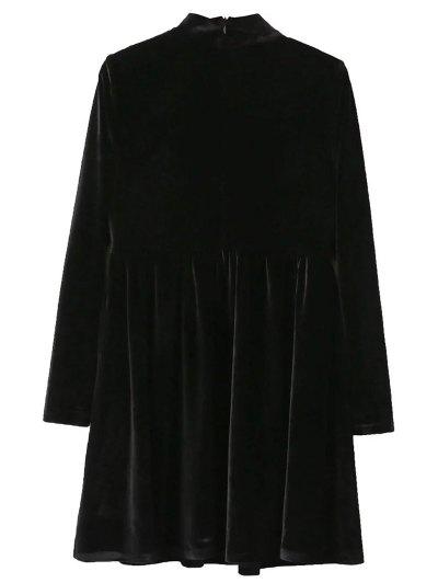 Mock Neck Velvet Flare Dress - BLACK S Mobile