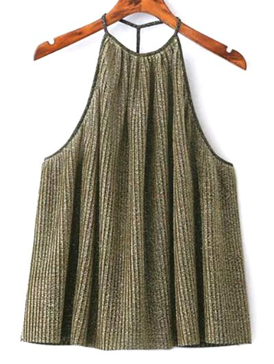 Shiny Pleated Halter Top - GOLDEN L Mobile