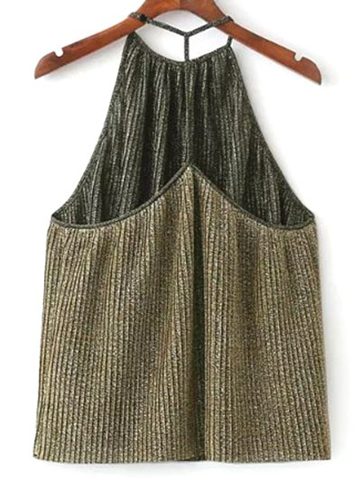 Shiny Pleated Halter Top - GOLDEN S Mobile