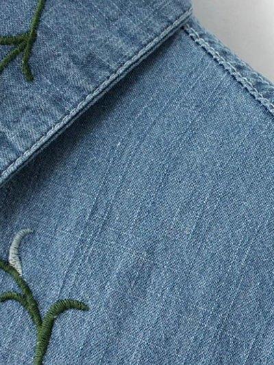 Flower Embroidered Pockets Denim Shirt - LIGHT BLUE L Mobile
