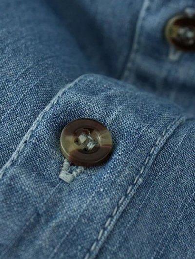 Flower Embroidered Pockets Denim Shirt - LIGHT BLUE S Mobile