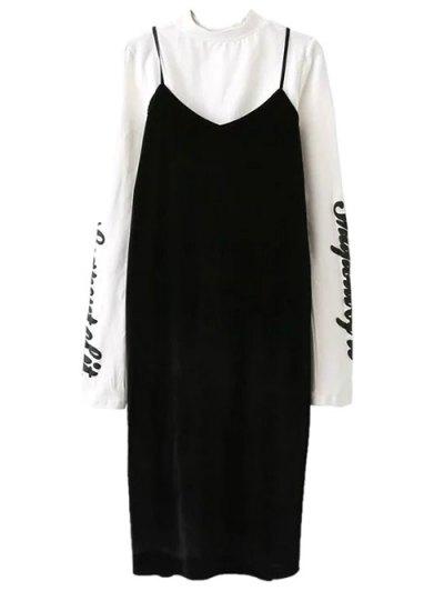 Pleuche Slip Dress with Letter Tee - WHITE AND BLACK L Mobile