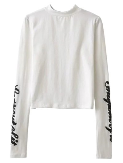 Pleuche Slip Dress with Letter Tee - WHITE AND BLACK M Mobile