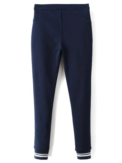 Fleece Lined Slim Pants - DEEP BLUE L Mobile