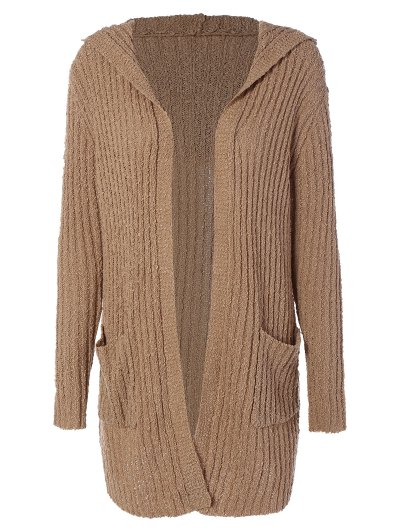 Ribbed Double Pockets Hooded Cardigan - BROWN 2XL Mobile