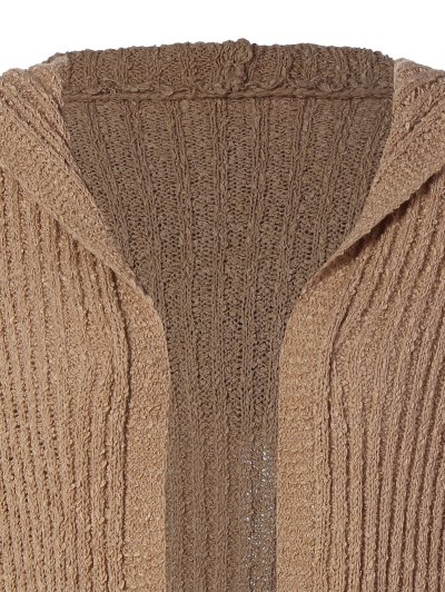 Ribbed Double Pockets Hooded Cardigan - BROWN M Mobile