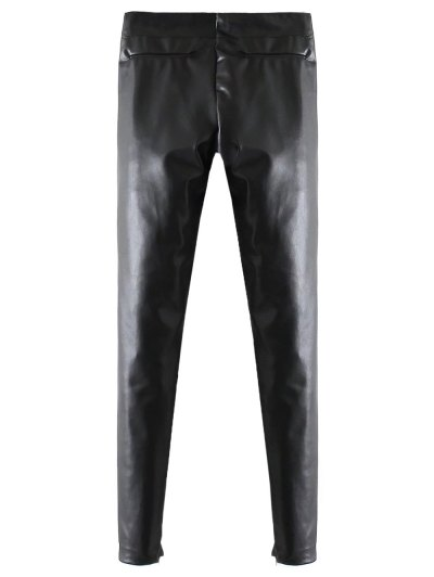 Skinny PU Leather Narrow Feet Pants - BLACK L Mobile