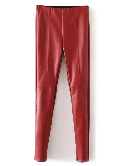 Skinny PU Leather Narrow Feet Pants - RED M Mobile