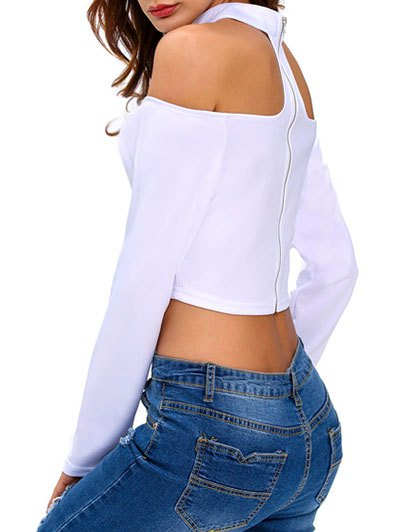 Cut Out Cropped Choker T-Shirt - WHITE S Mobile