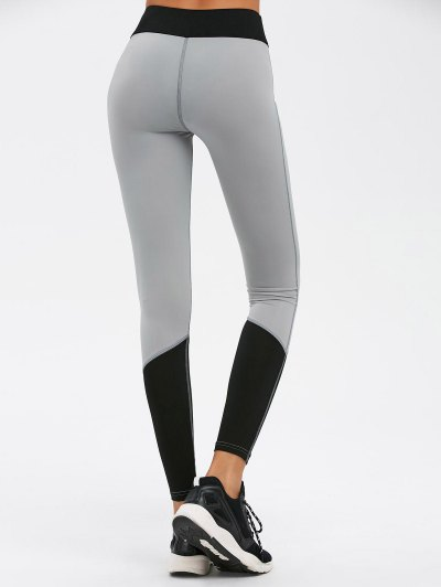 Color Block High Waist Skinny Yoga Leggings - BLACK L Mobile