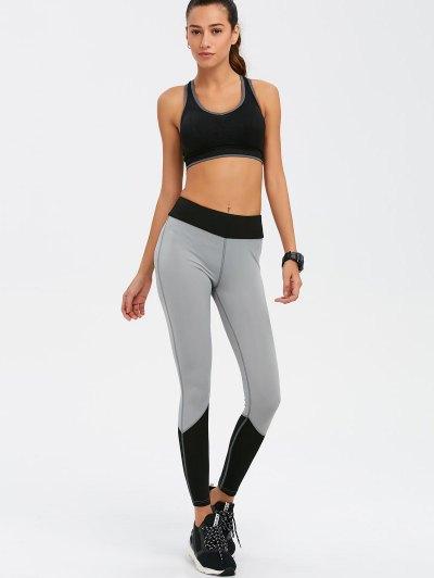Color Block High Waist Skinny Yoga Leggings - BLACK M Mobile